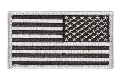 Silver US flag velcro patch reversed