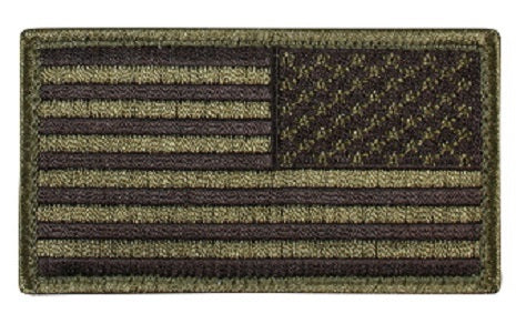 Green US flag velcro patch reversed