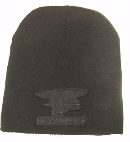 BLACK TOQUE WITH BLACK NAVY SEALS LOGO