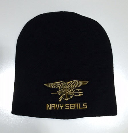 BLACK TOQUE WITH GOLD NAVY SEALS LOGO