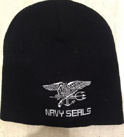 BLACK TOQUE WITH WHITE NAVY SEALS LOGO