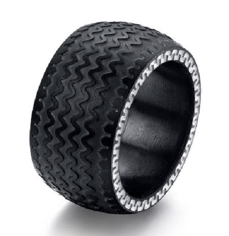 TIRE RING NDT BLACK AND WHITE STAINLESS STEEL