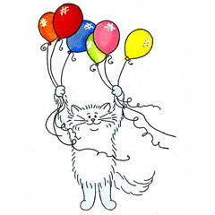 Birthday Cat with Balloons
