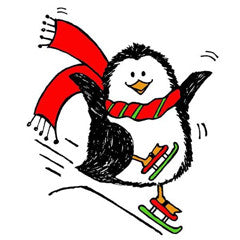Penguin Skiing Rubber Stamp