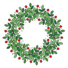 Merry Wreath Rubber Stamp