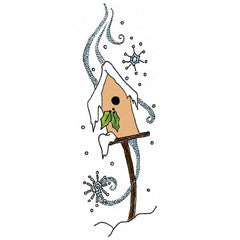 Winter Birdhouse Rubber Stamp