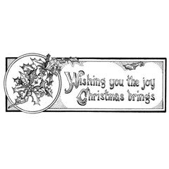 Vintage Christmas Greeting Rubber Stamp