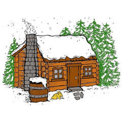 Winter Cabin Rubber Stamp