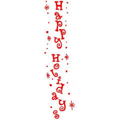 Vertical Happy Holidays Rubber Stamp