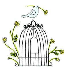 Bird Cage with Flowers Rubber Stamp  Great Impressions