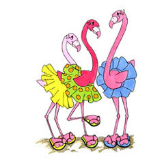 Tu Tu Flamingos Rubber Stamp