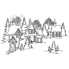 Christmas Town Rubber Stamp