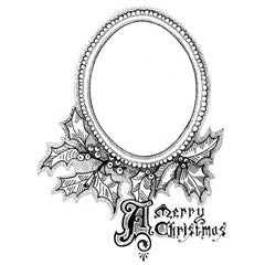 Holly Christmas Frame Rubber Stamp