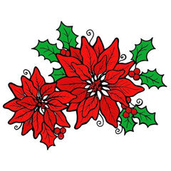 Poinsettias & Berries Rubber Stamp