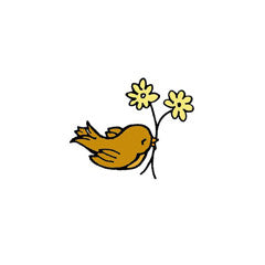 Birdie with Flowers Rubber Stamp From Great Impressions