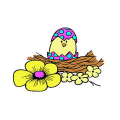 Hatching Spring Chick Rubber Stamp