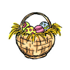 Straw Easter Basket Rubber Stamp