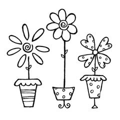 Trio of Potted Flowers Rubber Stamp / Great Impressions