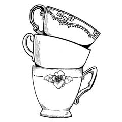 Elegant Tea Cups Rubber Stamp From Great Impressions