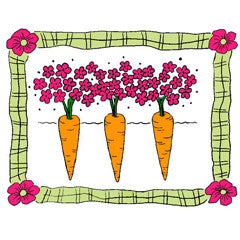 Carrots in Plaid Frame Rubber Stamp