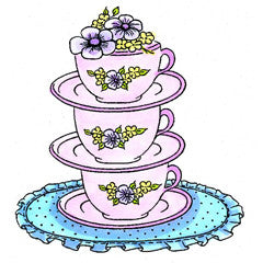 Spring Tea Cups Rubber Stamp