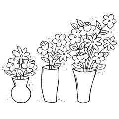 Vases of Flowers Rubber Stamp From Great Impressions