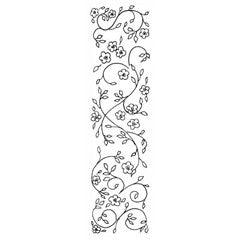 Elongated Flower Flourish Rubber Stamp