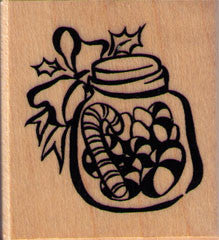 Candy Cane Jar Rubber Stamp