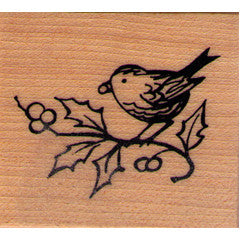 Bird on Holly Rubber Stamp