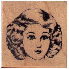 Lady's Face Rubber Stamp