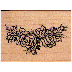 PSX Rose Corner Spray Rubber Stamp