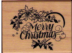 PSX Poinsettia Merry Christmas Rubber Stamp