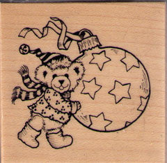 Bear with Christmas Ornament Rubber Stamp