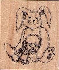 Easter Bunny with Basket Rubber Stamp