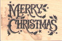 PSX Holly Merry Christmas Rubber Stamp