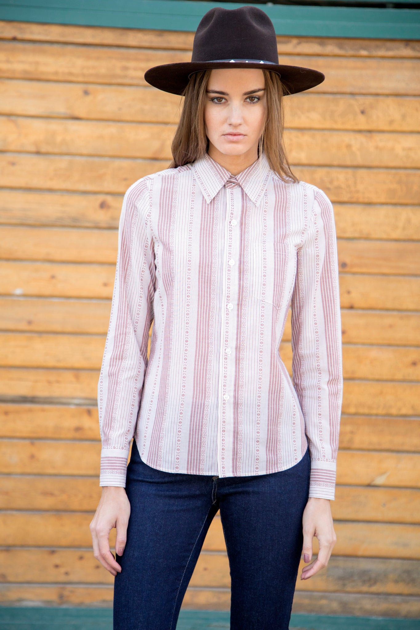 Navajo Stripe Shirt XS Mauve Nightcap Clothing