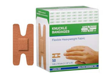 Fabric Bandages, Knuckle, 3.8 x 7.6 cm, Heavyweight, 50/Box