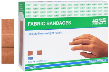 Fabric Bandages, 2.2 x 7.6 cm, Heavyweight, 100/Box