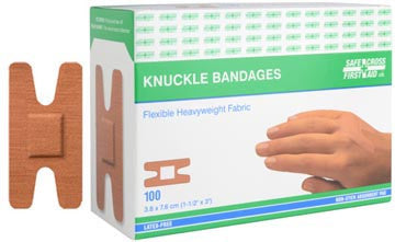 Fabric Bandages, Knuckle, 3.8 x 7.6 cm, Heavyweight, 100/Box