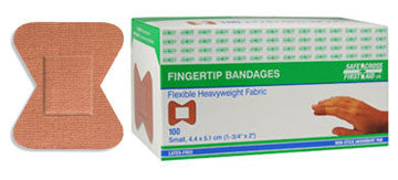 Fabric Bandages, Fingertip Small, 4.4 x 5.1 cm, Heavyweight, 100/Box