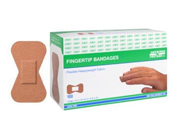 Fabric Bandages, Fingertip Large, 4.4 x 7.6 cm, Heavyweight, 100/Box