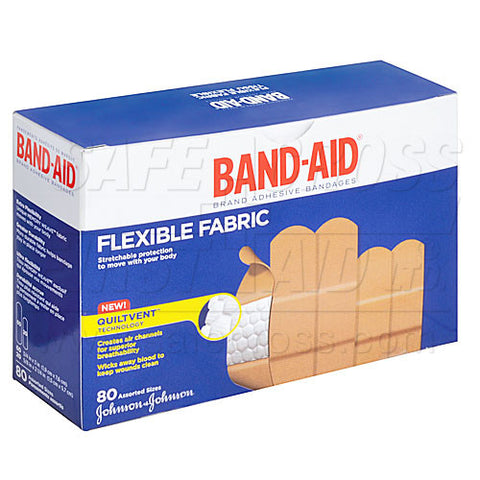 Band-Aid Brand, Fabric Bandages, Assorted, 80/Box