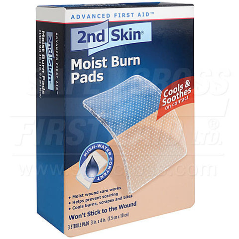 Second Skin, Moist Burn Pads, Large, 7.6 x 10.2 cm, 3/Box