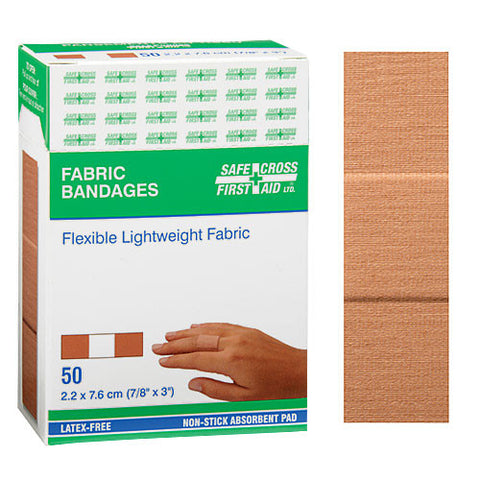 Fabric Bandages, 2.2 x 7.6 cm, Lightweight, 50/Box
