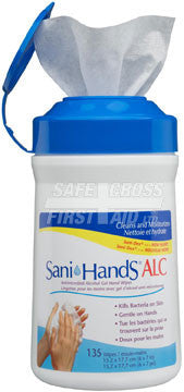 Sani-Hands, Alcohol Gel Hand Wipes, Canister, 135/Tub