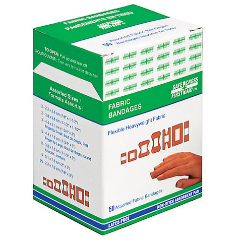Fabric Bandages, Assorted Sizes, Heavyweight, 50/Box
