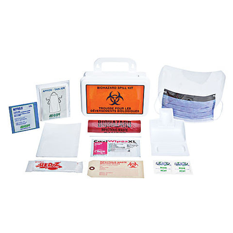 Biohazard Clean-Up Spill Kit, Deluxe, 10 Unit, Plastic Box