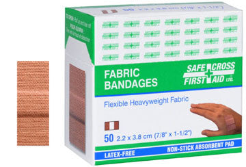 Fabric Bandages, 2.2 x 3.8 cm, Heavyweight, 50/Box