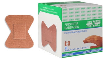 Fabric Bandages, Fingertip Small, 4.4 x 5.1 cm, Heavyweight, 50/Box
