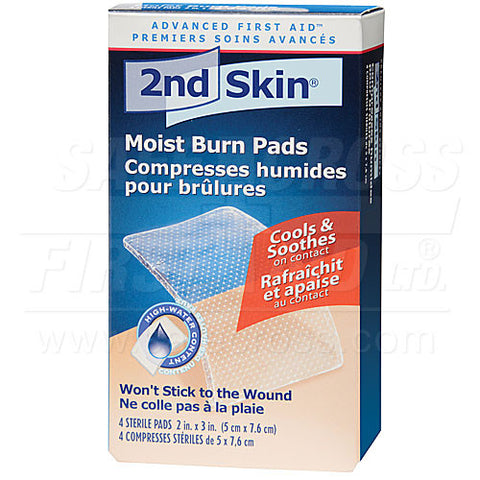 Second Skin, Moist Burn Pads, Medium, 5.1 x 7.6 cm, 4/Box